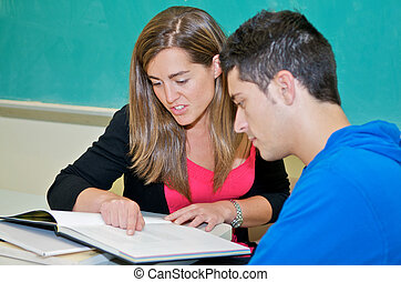 College student studying in classroom