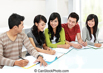 college student together studying