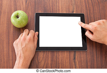 College Student Using Blank Digital Tablet - Cropped image...