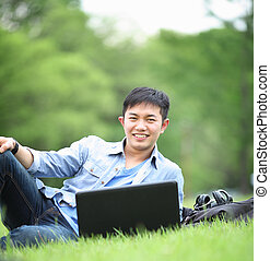 college student with laptop