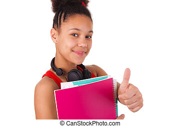 Cheerful young female african american college student waving ...