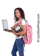 College student young African American woman with laptop