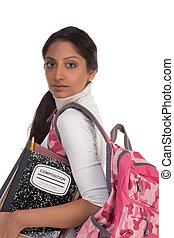 College student young Indian woman with backpack