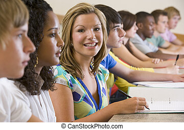 College students in a university lecture