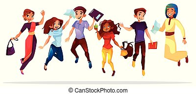 College students jumping up vector illustration