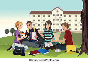 College students studying outdoor - A vector illustration of...
