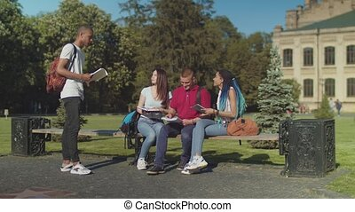 College students talking during study outdoors