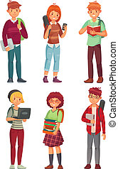 College students. University studying student, teenager studying english books and teenager with backpacks cartoon vector characters