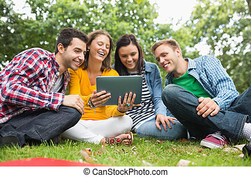 College students using tablet PC in