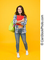 College university education. Student with backpack. Regular student carry workbooks. Student life. School girl with backpack. Woman adult student. Final exam and graduation. Dedicated to studying