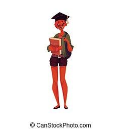 College, university student girl in graduation cap holding textbooks