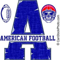 College vector label and print design for t shirt. American football graphic