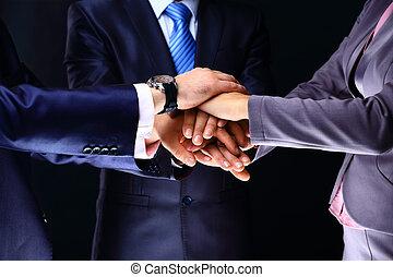 colleghi, accatastato, affari, loro, closeup, mani