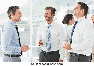colleghi, affari, tè, discussione, rottura, durante, campanelle