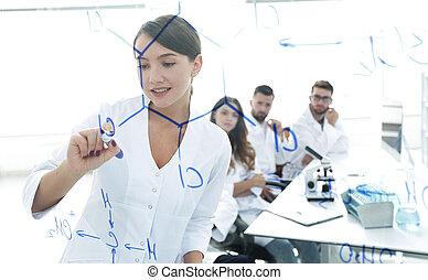 colleghi, board., scienziato, attraverso, femmina,...
