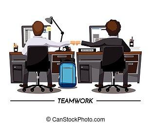 colleghi, concetto, pugno, urto, collaborazione,...