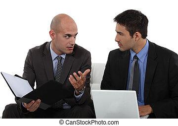 colleghi, detenere, discussione, affari, due