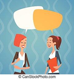 colleghi, donna, gruppo, umano, affari, chiacchierata, squadra, bolla, risorse
