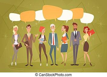 colleghi, gruppo, umano, persone affari, chiacchierata, squadra, bolla, risorse