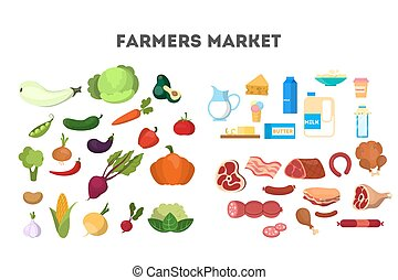 colletion, sano, set., prodotti cibo, latteria