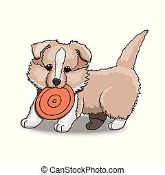 colley, frisbee., caractère, illustration, chiot, dessin animé