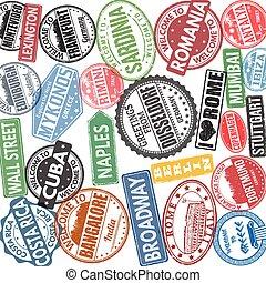 collezione, alto, concetto, viaggiare, francobolli