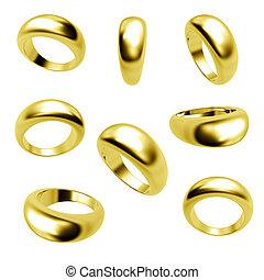 collezione, anelli, isolato, oro, matrimonio