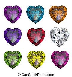 collezione, brilliants, forma, di, cuore