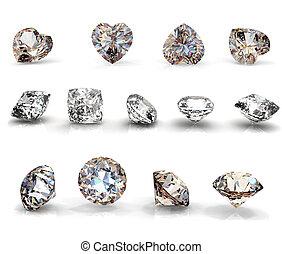 collezione, brilliants, forma, di, cuore, rotondo, e, quadrato