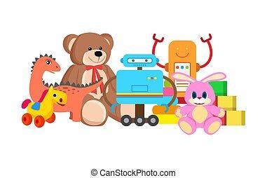 collezione, cavallo, vettore, robot, illustrazione