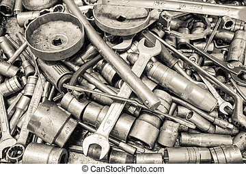 collezione, chiave, e, strappare, riparazione, attrezzo,...
