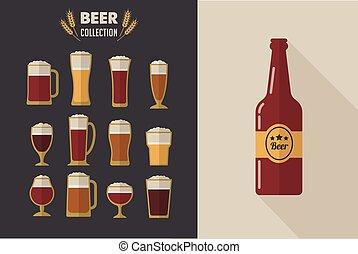 collezione, di, appartamento, vettore, bicchieri birra