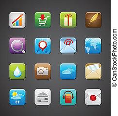 collezione, di, apps, icone