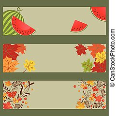 collezione, di, autunnale, bandiere orizzontali, con, anguria, ashberry, e, acero, leaves.eps