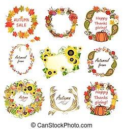 collezione, di, autunno, cornici