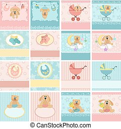 collezione, di, bambino, cartoline