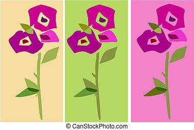 collezione, di, bello, fiori, con, mette foglie, -1