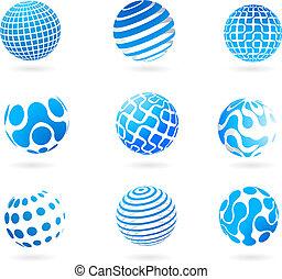 collezione, di, blu, 3d, globo, icone