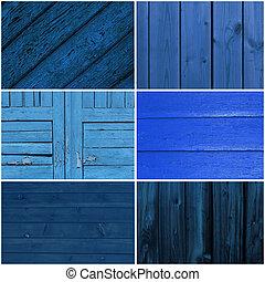 collezione, di, blu, legno, fondo