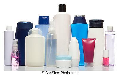 collezione, di, bottiglie, di, salute bellezza, prodotti