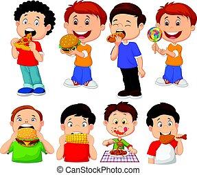 collezione, di, cartone animato, piccolo ragazzo, mangiare, fast food