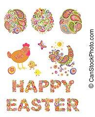 collezione, di, decorativo, pasqua, floreale, uova, e, divertente, gallina
