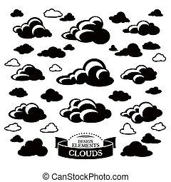 collezione, di, differente, nuvola, icone