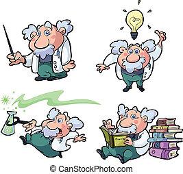 collezione, di, divertimento, scienza, professore