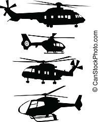 collezione, di, elicotteri