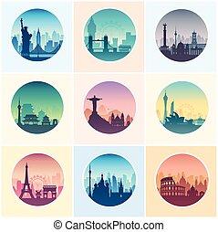 collezione, di, famoso, città, capes.