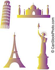 collezione, di, famoso, monumenti, intorno mondo