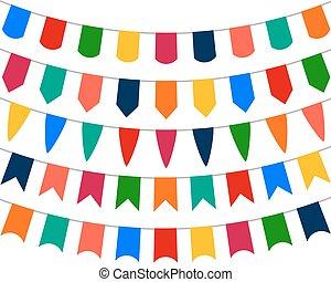 collezione, di, festivo, decorativo, bandiere, vacanza