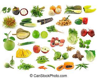 collezione, di, frutta verdure