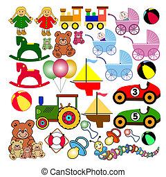 collezione, di, giocattoli